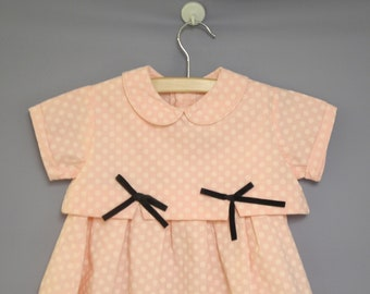 Vintage Baby Clothes | 1950's Pink and White Polka Dot Two-Piece Baby Dress | Vintage Baby Dress | 1950s Baby Dress | Size 18 - 24 Months