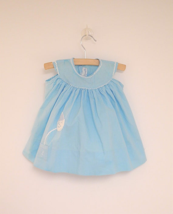 Vintage Baby Dress | 1950's Bright Blue and White