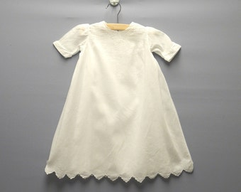 Vintage Baby Clothes, 1940's Handmade White Embroidered Baby Girl Christening Gown Set, Vintage Christening Gown, Size 6-12 Months
