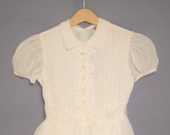 Vintage Girls Clothes | 1950's White Organdy Girls Dress | Vintage Girls Dress | 1950s Girls Dress | Size 5 - 6
