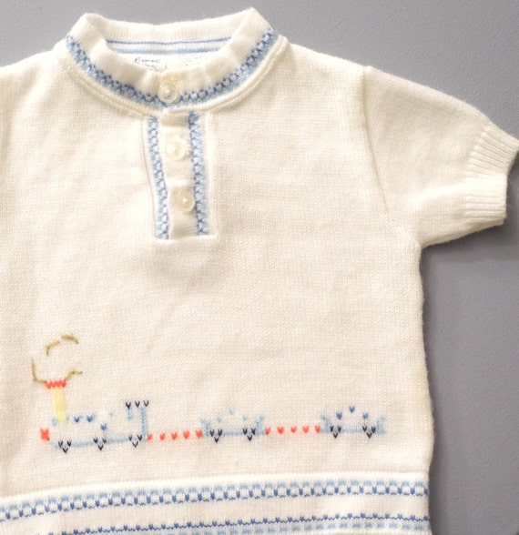 Vintage Baby Clothes, 1940's Blue and White Knit T