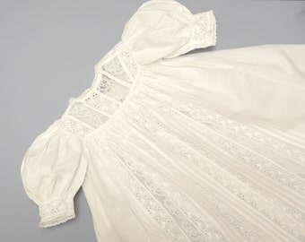 Vintage Baby Clothes, 1900 Handmade White Eyelet Ruffled Baby Girl Christening Gown, Vintage White Christening Gown, Size 6 Months