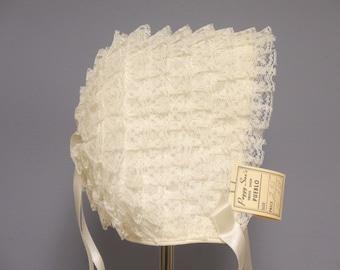 Vintage Baby Bonnet | 1950's Rare Deadstock Ivory Ruffled Baby Bonnet | Vintage Ivory Baby Bonnet | Size 3 - 6 Months