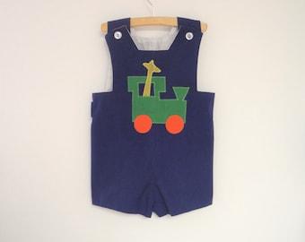 Vintage Baby Clothes | 1970's Handmade Sleeveless Navy Blue Baby Romper | Vintage Baby Romper | Size 3T-4T