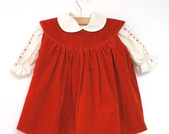 Vintage Baby Clothes, 1970's Saks Fifth Avenue Red Velvet and Cream Lace Baby Girl Dress, Vintage Baby Dress, Size 6 Months