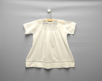 Vintage Baby Clothes, 1930's Handmade White Tattted Baby Girl Dress, White Baby Dress, Vintage Baby Dress, Size 12-18 Months