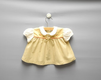 Vintage Baby Clothes, 1950's Tan and White Gingham Check Baby Girl Dress Set, Vintage Baby Dress, Baby Sun Suit, Size 3-6 Months