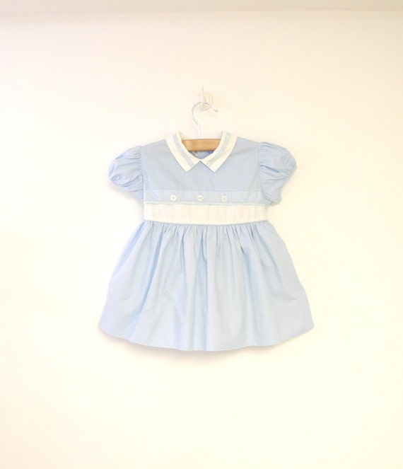 Vintage Baby Clothes, 1950's Light Blue and White