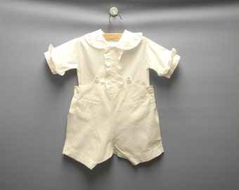 Vintage Baby Romper| 1920's Handmade White Two Piece Baby Boy Romper | Vintage Baby Romper | White Baby Romper, Size 3T