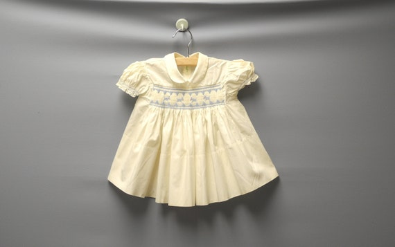 Vintage Baby Clothes, 1950's Cream and Blue Baby G