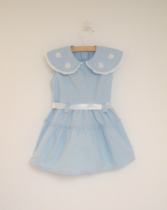 Vintage Baby Dress | 1950's Light Blue and White S