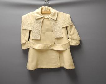 Vintage Baby Clothes, 1900 Handmade Cream Wool Double Breasted Baby Girl Coat, Vintage Baby Coat, Wool Baby Coat, Winter Baby Coat, Size 3T