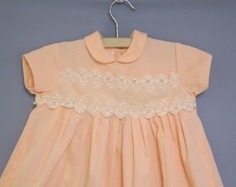 Vintage Baby Clothes | 1950's Peach and White Kate Greenaway Baby Dress | Vintage Baby Dress | 1950s Baby Dress | Size 12 months