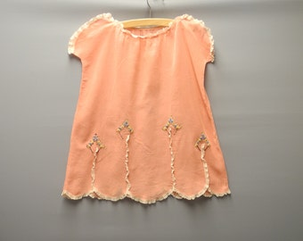 Vintage Baby Dress 1920's Handmade Coral Pink and Cream Lace Cotton Voile Embroidered Dress Size 3T