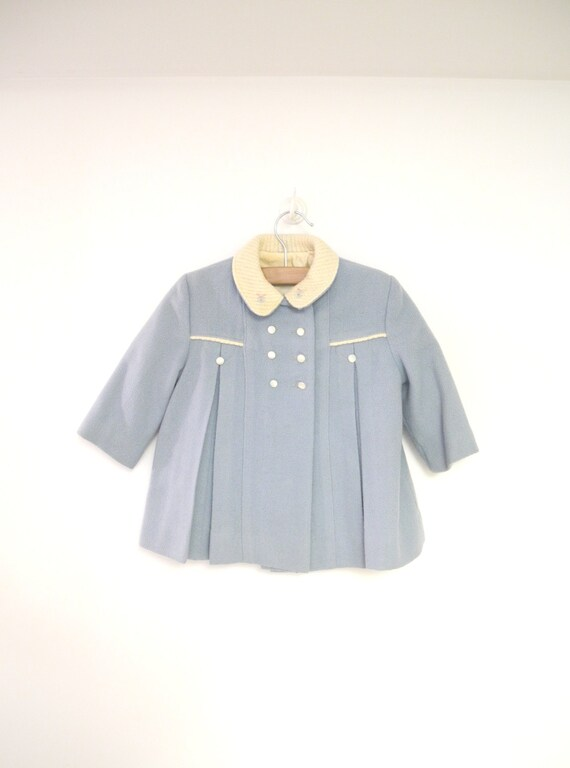 Vintage Baby Clothes, 1950's Light Blue and Ivory