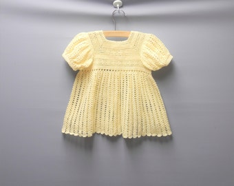 Vintage Baby Clothes, 1950's Handmade Cream Baby Girl Dress, Vintage Baby Dress, Cream Baby Dress, Crocheted Baby Dress, Size 6-12 Months