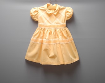 Vintage Baby Clothes | 1950's Peach and White Baby Dress | Vintage Baby Dress | Cotton Baby Dress | 1950s Baby Dress | Size 2T