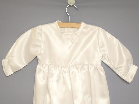 Vintage Baby Clothes, 1970's White Satin Baby Boy