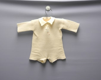 Vintage Baby Clothes, 1920's Hand Knit Cream Wool Baby Romper, Vintage Baby Romper, Cream Baby Romper, Handmade Baby Romper, Size 0-3 Months