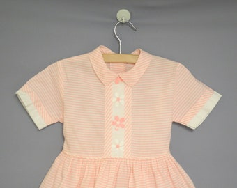 Vintage Baby Clothes, 1950's Pink and White Striped Baby Dress, Vintage Baby Dress, Pink Baby Dress, Size 3T