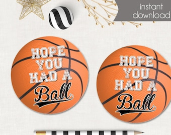 Basketball Favor Tags - Basketball Stickers - Printable - Basketball Birthday Party or Baby Shower - Instant Download