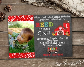 Farm Birthday Invitation - Printable - First Birthday - Barnyard Birthday Party - Farm Party