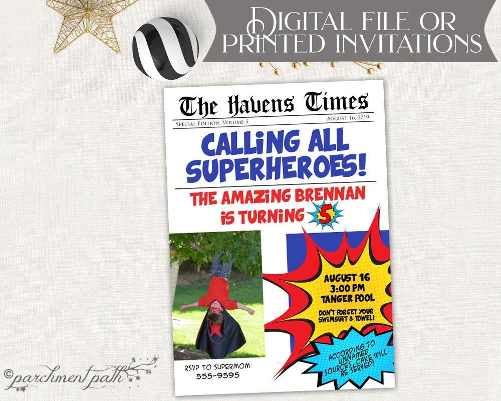 Superhero Invitation Newspaper Style Birthday Invitation | Etsy
