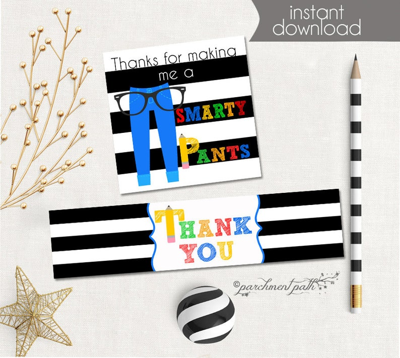 graphic regarding Smartie Pants Printable named Smarty Trousers Instructor Choose Tags and H2o Bottle Labels - Instructor Present - Trainer Appreciation - Conclude of the Calendar year Printable - Immediate Obtain