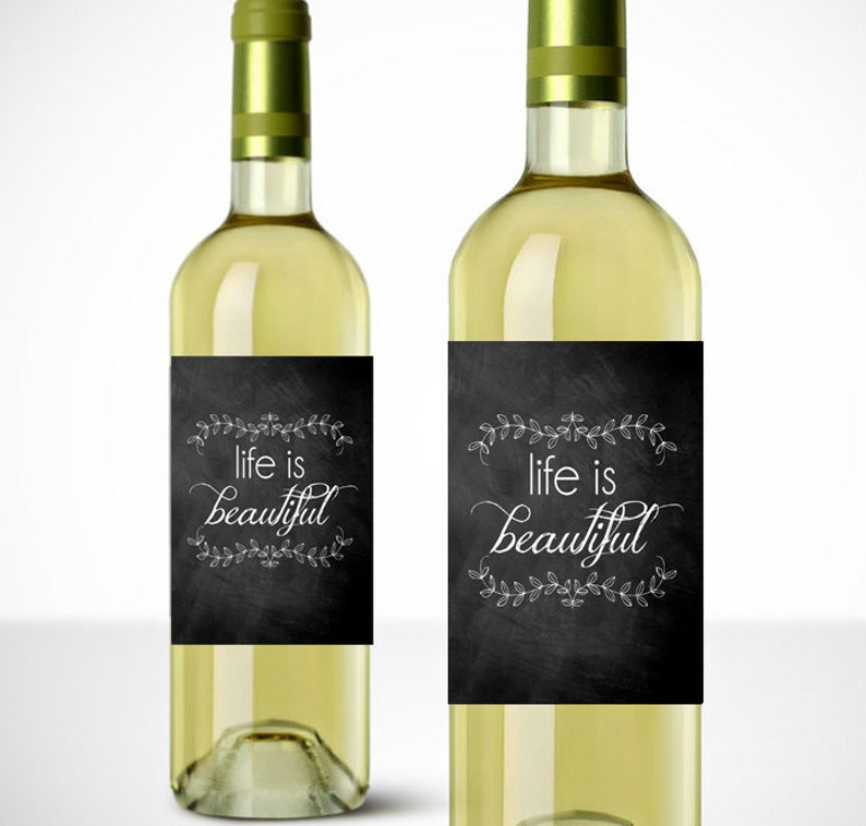 photo regarding Printable Wine Labels titled Lifestyle is Attractive Printable Wine Label - Reward - Wine Labels - Prompt Obtain