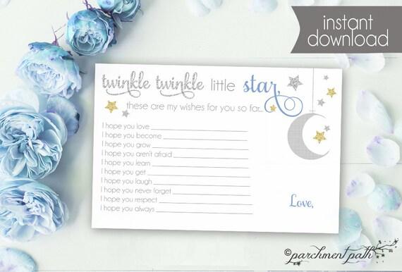 Twinkle Twinkle Little Star Shower Keepsake Baby Wishes Printable