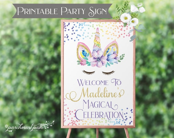picture regarding Smile You're on Camera Sign Printable identified as Unicorn Birthday Indication - Printable Get together Indicator - Unicorn Social gathering