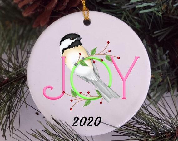 Joy Christmas Ornament, Chickadee Ornament, Christmas, Grandma Gift