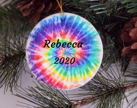Tie Dye, Personalized Ornament, Christmas, Gift for Daughter
