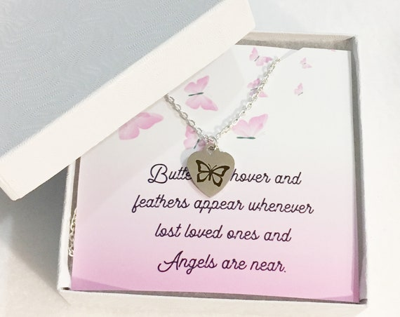 Butterfly Memorial Necklace Loss of a Loved One With Butterflies Pendant Necklace