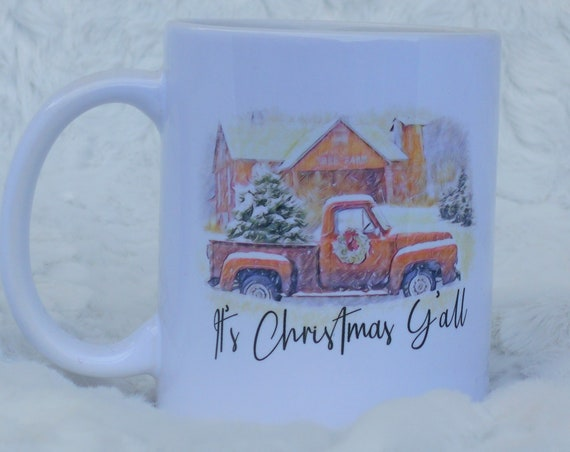 It's Christmas Y'all Red Truck Coffee Mug, Christmas, Secret Santa Gift
