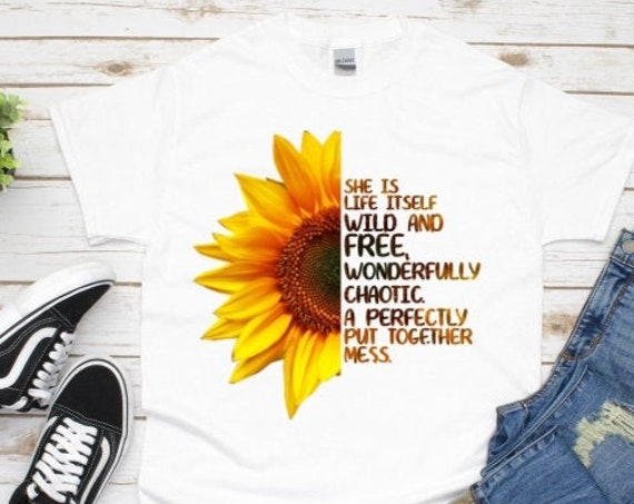 Sunflower Graphic Tee, She Is Wild and Free T-Shirt, Birthday, Girlfriend Gift