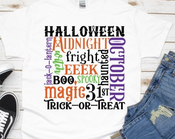 Halloween Shirt, Word Art, Autumn, Gift for Women