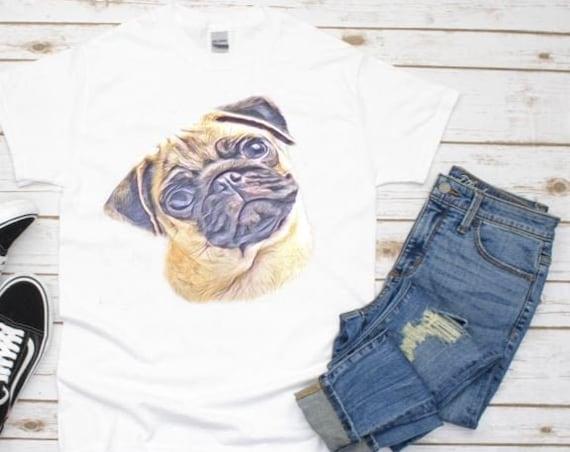 Pug Face T-Shirt, Pug Gifts, Christmas, Gift for Girlfriend
