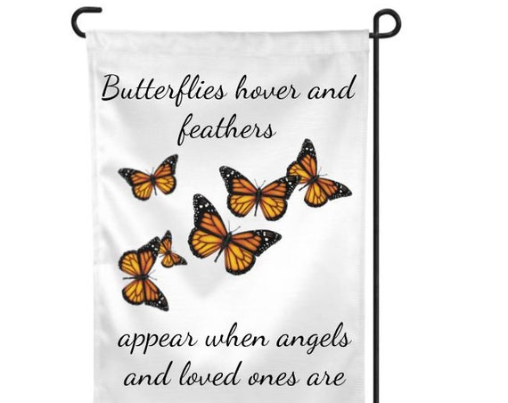 In Memory of Butterfly Garden Flag, Bereavement, Loss of Mother, Friend Gift