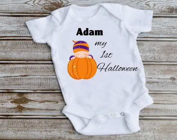 Personalized My First Halloween Baby Bodysuit, Halloween, New Baby Gift