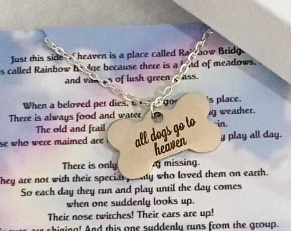 All Dogs Go To Heaven Pet Remembrance Personalized Memorial Necklace - Rainbow Bridge
