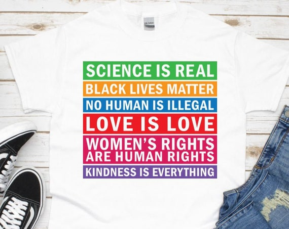 Black Lives Matter, Womens Rights Are Human Rights, Kindness Graphic Unisex T-Shirt