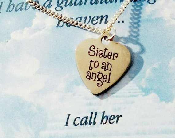 Sister of an angel- my sister my angel-memorial necklace-necklaces-remembrance jewelry-in memory of -sister-loss of loved one-sympathy gift