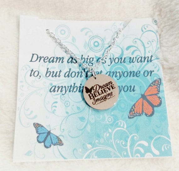 Graduation gift- Graduation necklace- message card- Dream Believe Imagine- Granddaughter gift- Daughter gift- class of 2018- Grad gift