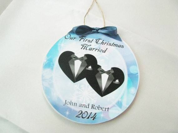 Gay Wedding Gift    First Christmas Gay marriage ornament- Great wedding gift!