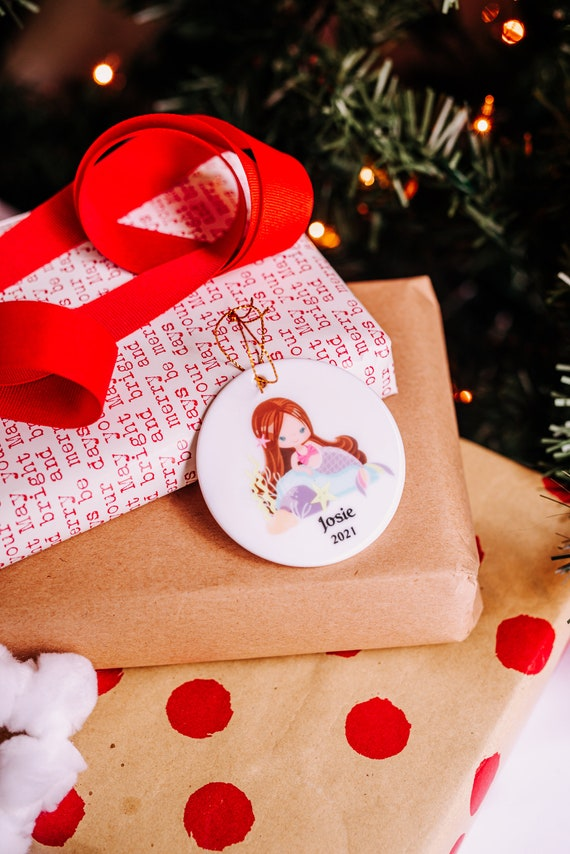 Mermaid Ornament, Personalized, Christmas Gift for Niece