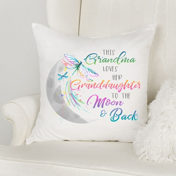 I Love You To The Moon and Back, Throw Pillow, Christmas Gift for Granddaughter