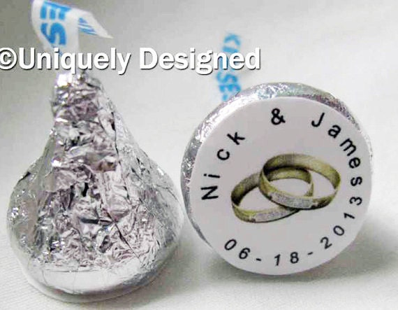Gay wedding favors- customized Hershey kisses