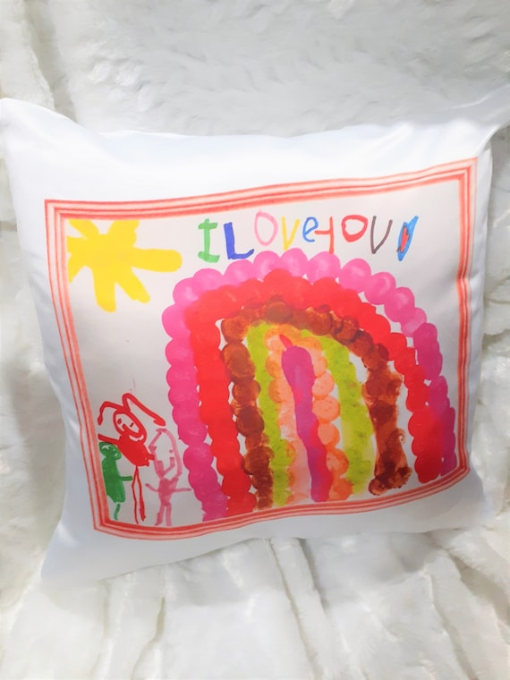 Child's Art Pillow, Mothers Day, Mom Gift