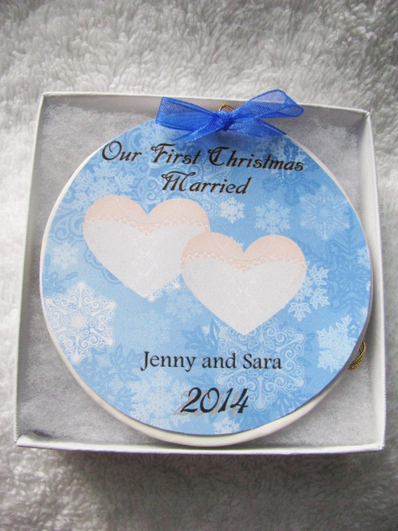 Lesbian wedding gift  - Personalized wedding ornament - Gay Wedding Gift - Gay Wedding -First Christmas Gay marriage ornament- Wedding Gift